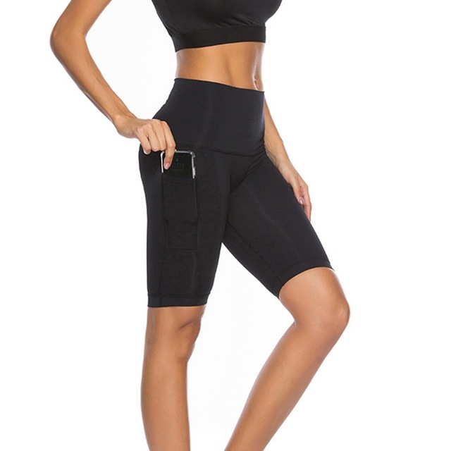 04972695eb335 Vertvie Women High Elastic With Pocket Mesh Tights Running Knee Length  Fitness Yoga Pants Gym Quick