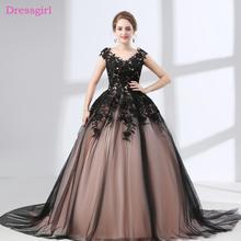 e3bc891ace Czarny Vestido De Noiva suknie ślubne 2019 suknia balowa Cap rękawy Tulle  aplikacje koronki tanie Boho