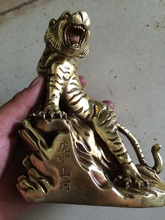 Collectibles China Mighty brass tiger sculpture - home feng shui decoration high-end gifts metal handicraft