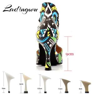 Image 2 - Ladingwu Brand Latin Dance Shoes Ladies Dance Boots Elastic band adjustment Ballroom Dance Shoes Blue African texture Shoes