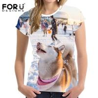 FORUDESIGNS Bán Buôn Động Vật Phụ Nữ T-Shirt Áo Sơ Mi Nữ T Harajuku 3D Dễ Thương Chó Áo Phông Nữ Tính Tees Mới Lạ Slim Fit T Shirt