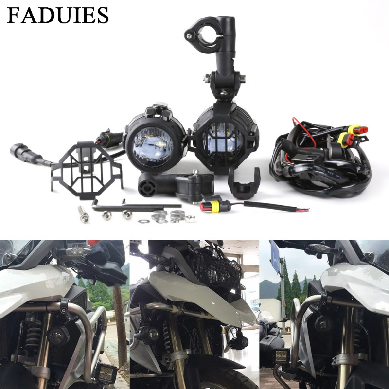 FADUIES Motorcycle LED Fog Light Safety Driving Lamp with Auxiliary Lamp Accessories Guards & Wiring Harness for BMW R1200GS ADV