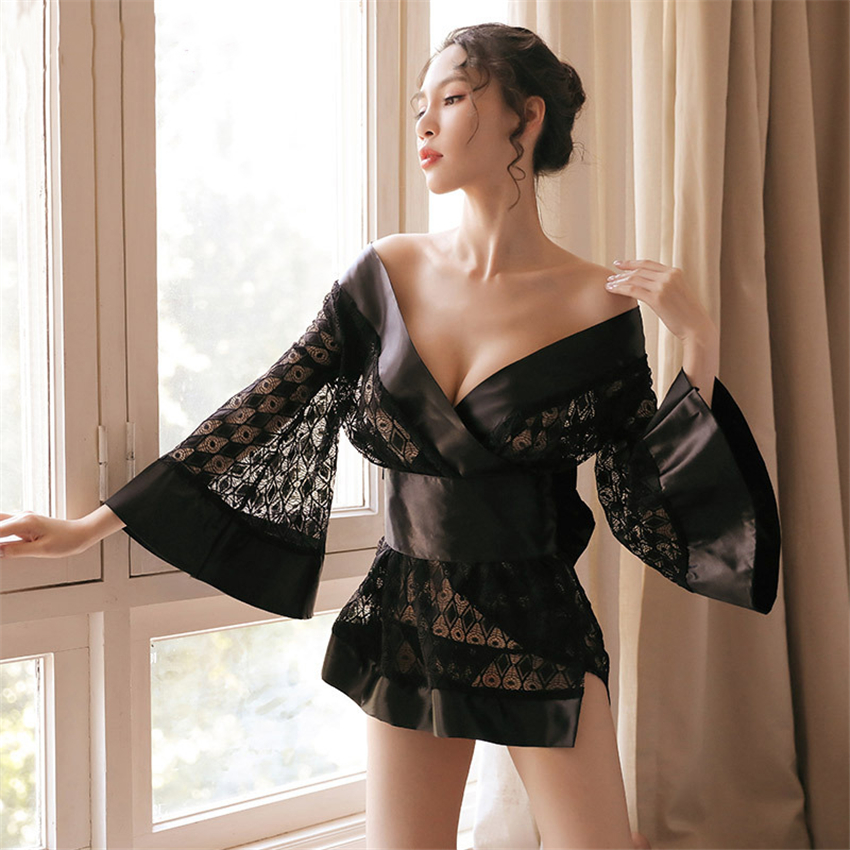Japanese Kimono Cardigan Mujer Women Haori Lace Sexy Sleepwear Yukata Satin Short Bath Robe Female Dress Party Geisha Costume