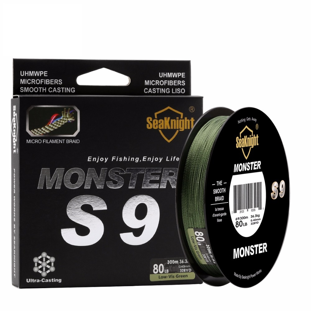 New best Monster S9 300M Braided Fishing Lines 30LB 40LB 50LB 80LB 100LB Spiral Braide Tech. 9 Strands Multifilament PE Green