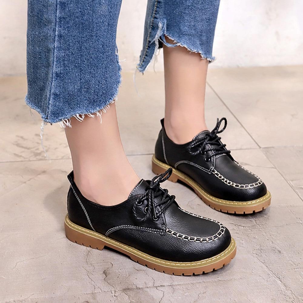 Comode Cheville coffee En S Femmes Mode De Bootsscarpe Occasionnels Donna Des Estive Chaussures Noir marron Plat Dentelle Courtes Cuir 4 Dames Mokingtop BwXxaAw