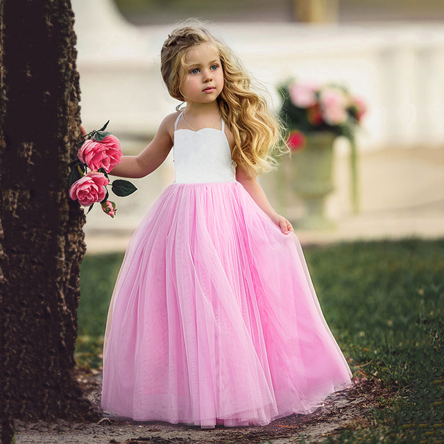 Girls Dresses for Party and Wedding 1-6Y Halter Summer Dress Vestidos Mujer  Pink Backless Graduation Gowns Princess Dresses D30 472f1363e13a