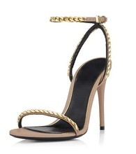 Hot Selling Gold Chain Decor Women Sandals Cut-out Gladiator Heels ladies sandals Ankle Strap Peep Toe