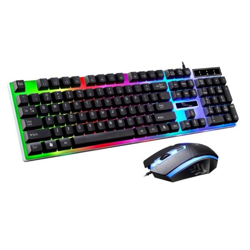 Luz de carregamento usb teclado & mouse kit rainbow led equipamentos de jogos para ps4 xbox um