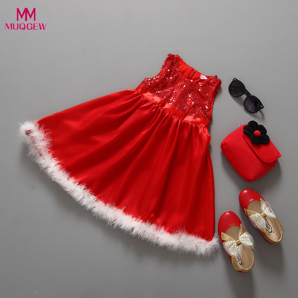 d95725bb05b98 Fashion Sequined Lace Christmas Dress Baby Girls Kids Party Red Paillette  Tutu Dresses Xmas ...