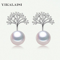 YIKALAISI Brand 2017 Fashion Natural Pearl Stud Earrings Ear Cuff With 925 Sterling Silver Jewelry Earrings