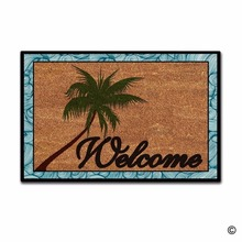 Funny Printed Doormat Entrance Floor Mat Beach Coconut Palm Tree Welcome Non-slip 23.6 by 15.7 Inch Machine Washable Non