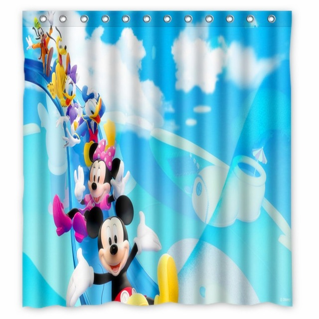 Anime Shower Curtain One Piece Dragon Ball Z Bleach Fairy Tail Naruto Together Mickey Mouse 66x72 Inch