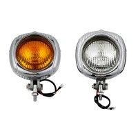 4 Vintage Head Lamp Headlight Clear/Orange Lens For Harley Tour Cross Bones Breakout Dyna Sportster Bobber Chopper Custom phare