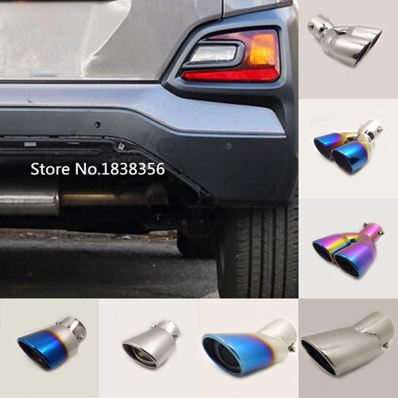Car Styling Body Muffler Exterior End Tail Pipe Outlet Dedicate Exhaust Tip Tail 1pcs For Hyundai Kona Encino Kauai 2018 2019