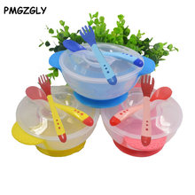 Baby Dinnerware Set Children's Tableware Baby Learning Dishes Feeding Bowl Spoon temperature fork christmas gift Food Bowl(China)