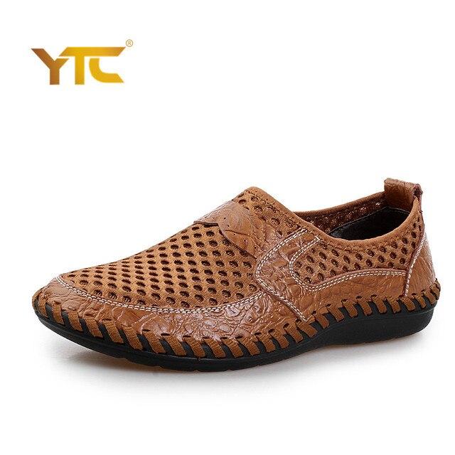2017 de Verano de Malla Transpirable Zapatos Casuales Para Hombre Slip On de Cuero Genuino Marca de Zapatos de Hombre de Moda de Verano Suave Y Cómodo