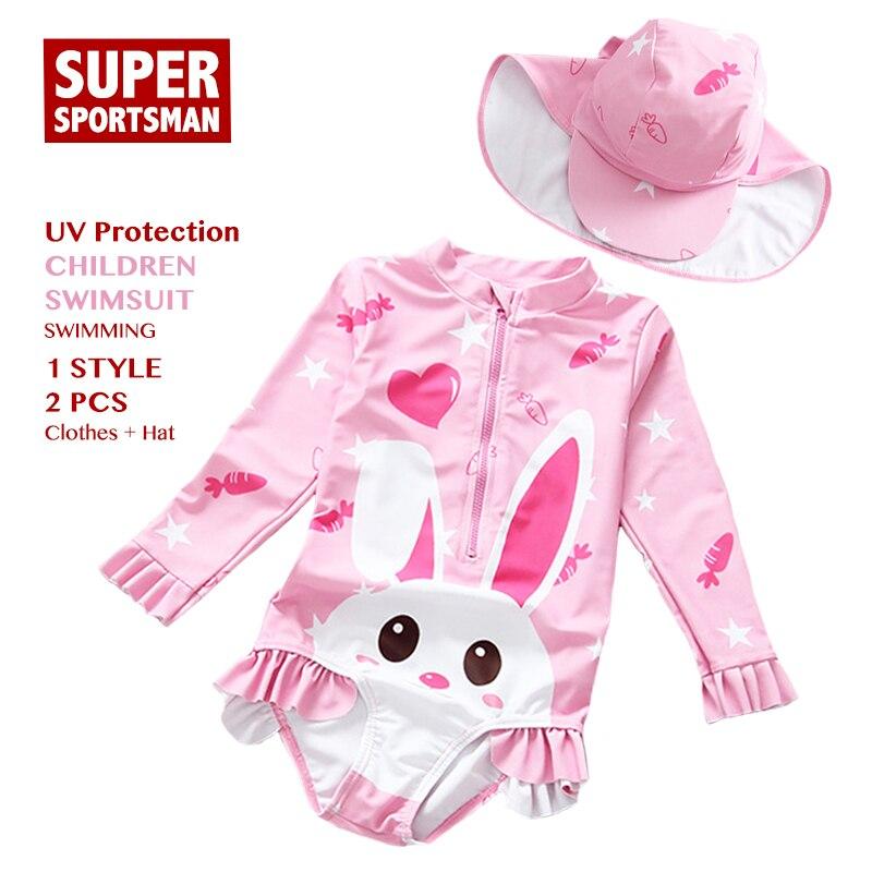Meninas do bebê Anti-UV Swimwear Crianças Coelho Dos Desenhos Animados One  Piece Swimsuit Crianças 171e5602cdd