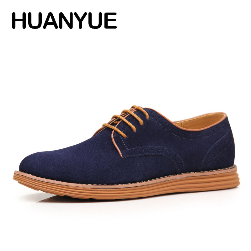 2018 New Plus Size Men Shose Fashion Suede Leather Shoes Casual Shoes Low Lace UP Flat Men's Shoes Zapatos Hombre Black 38-47