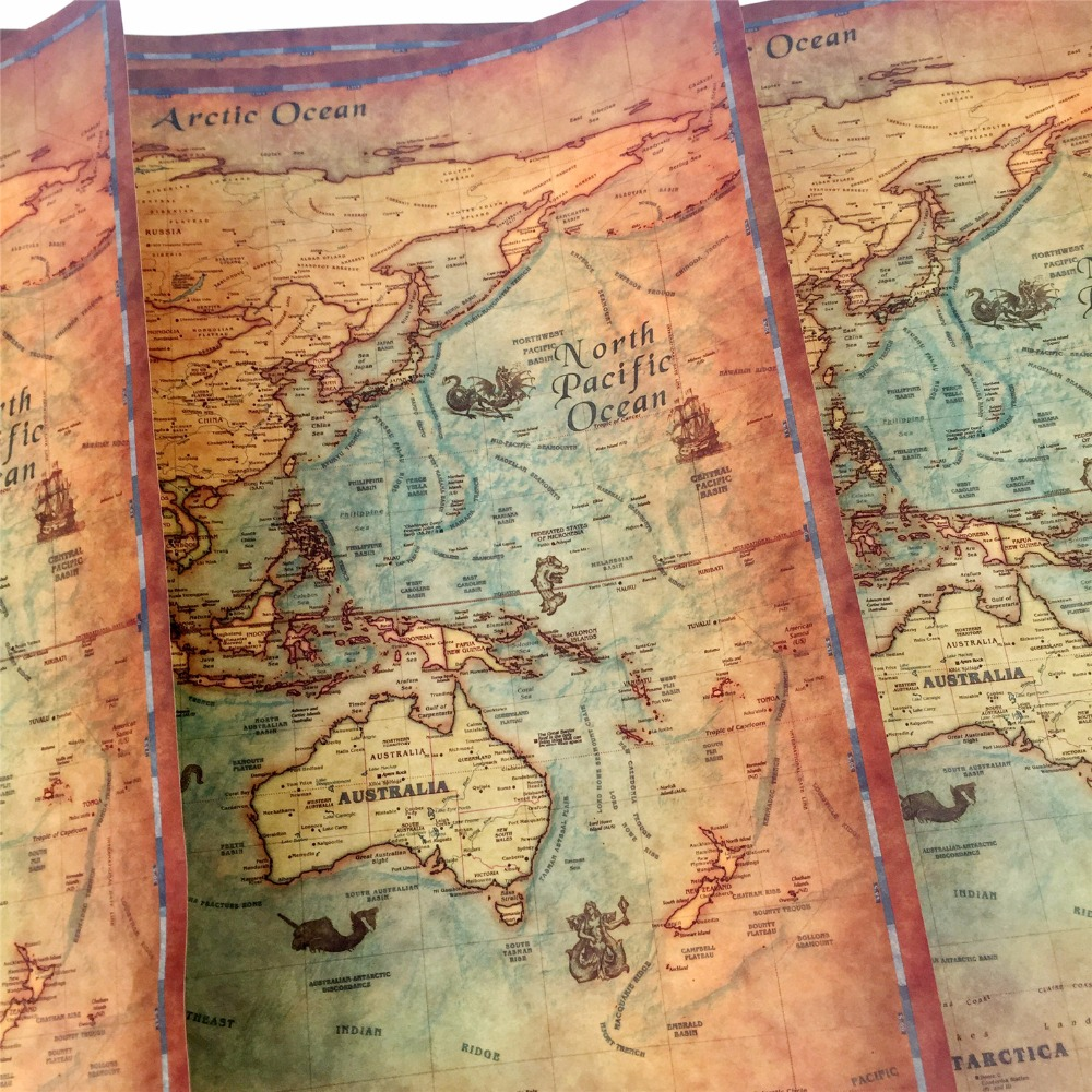 Large vintage world map kraft paper paint wall poster living room large vintage world map kraft paper paint wall poster living room art crafts maps bar cafe pub home decoration cafe bar pub in wall stickers from home publicscrutiny Gallery