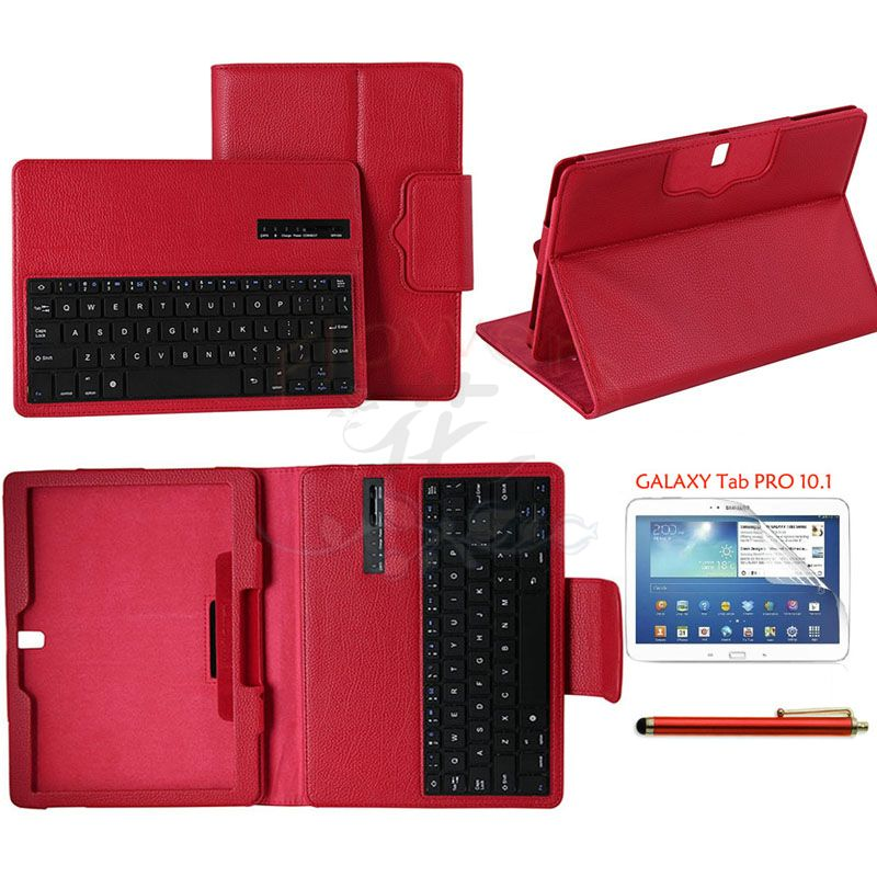 Specialized Removable Bluetooth Keyboard Case Cover For Samsung Galaxy Tab Pro 10.1' T520 & Protective Screen Film & Pen - Red samsung keyboard cover ej cg930ubegru black