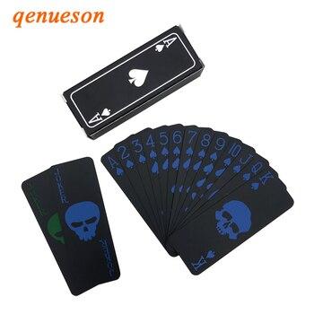 54Pcs Mini Black Poker Creative Skeleton Deck Box Foil Poker Set Magic Waterproof Plastic PVC Card Game Playing Cards Board Game