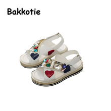 Bakkotie 2017 New Fashion Summer Baby White Princess Shoe Kid Peep Toe Rhinestone Black Cute Girl Shoe Soft Sole Sandals Child