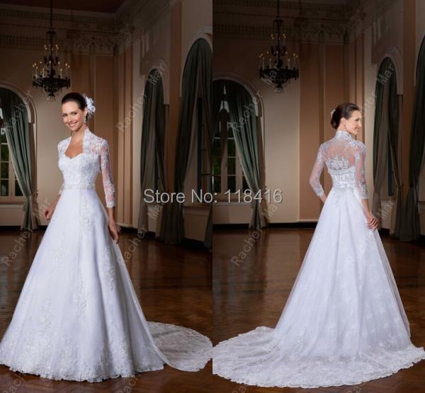 Vestido De Noiva Custom Made 2017 Y Vintage Pin Up Chapel Train Lace Jacket Wedding Dress