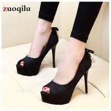 Пикантные туфли-лодочки на высоком каблуке; женская обувь; офисные женские вечерние свадебные туфли с открытым носком; обувь на платформе и каблуке; chaussure femme talon