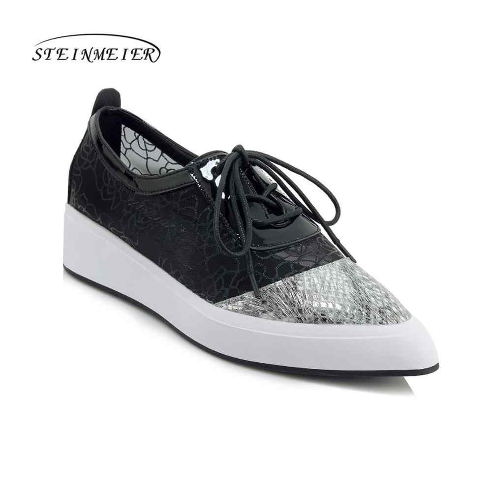 Đế phẳng mùa xuân đơn Giày Oxford nam da thật 2019 chính hãng da phẳng nền tảng Giày thời trang cho người phụ nữ Brogues Giày Vải Slipon