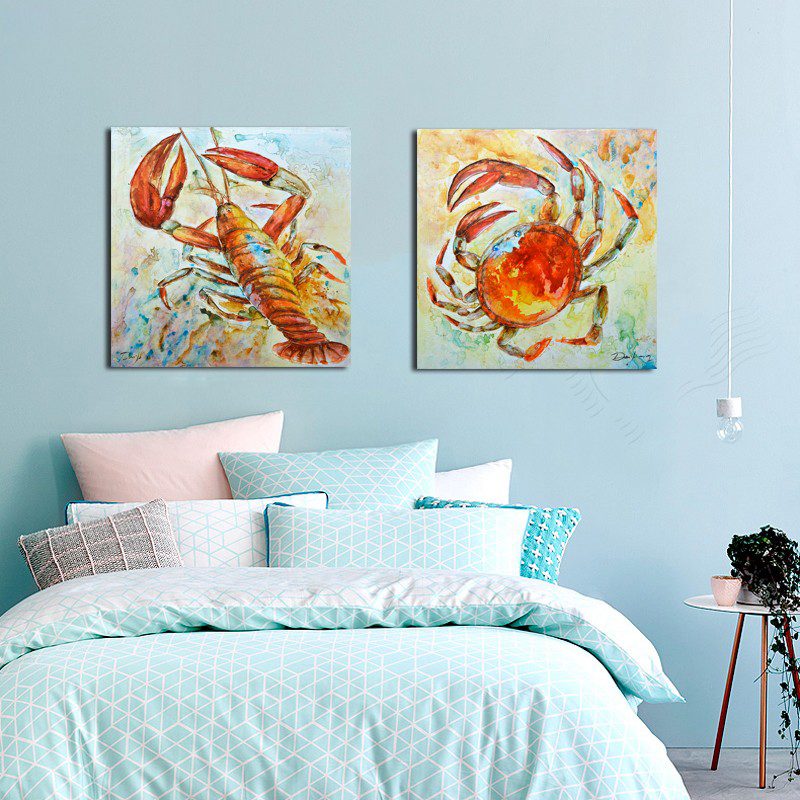 2016 Crab Lobster Water Colour Animal Wall Art Handmade Oil Painting Canvas  Big Size Home Lliving