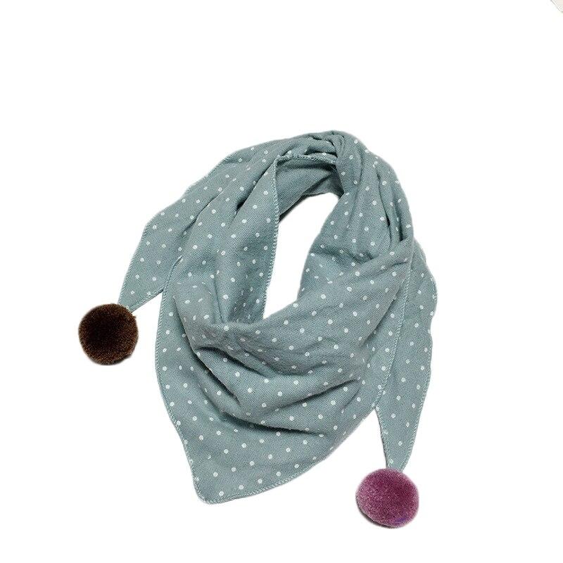 Весенние клетчатые треугольные шарфы в горошек для маленьких девочек; осенне-зимняя шаль для мальчиков и девочек; Детские хлопковые воротники; теплый детский шейный платок - Цвет: doulv dot
