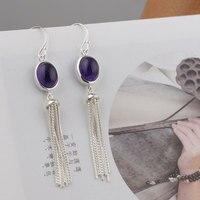 FNJ 925 Silver Amethyst Earrings For Women Jewelry New Original Pure S925 Sterling Silver 62mm Long