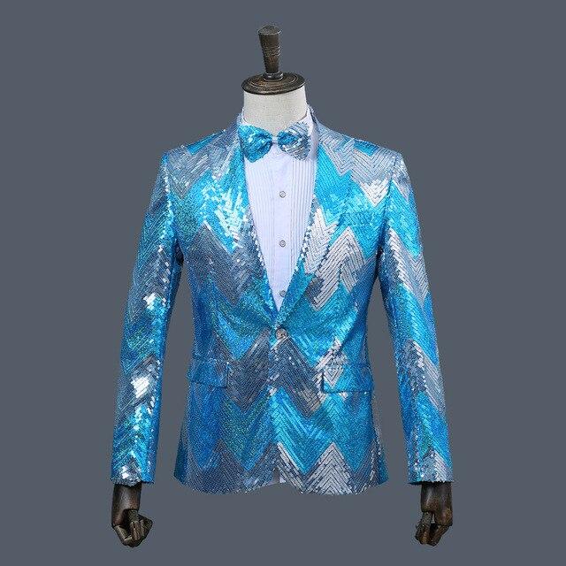 Hot 2019 New Green Bule Sequins Men Fashion Paillette Wedding Groom Suits Men Sequin Blazer Nightclub Bar DJ Singer Slim Suit