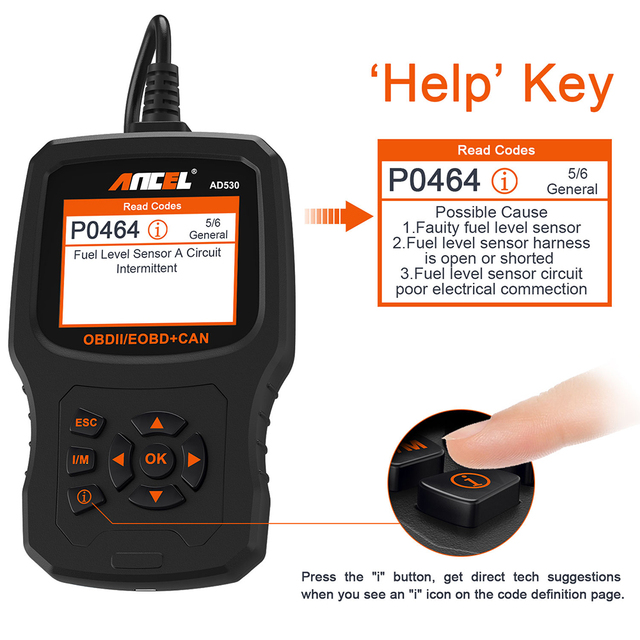 Ancel AD530 OBD2 Automotive Scanner for Renault Citroen OBD Car Diagnostics Code Reader Car Battery Tester Update For Free