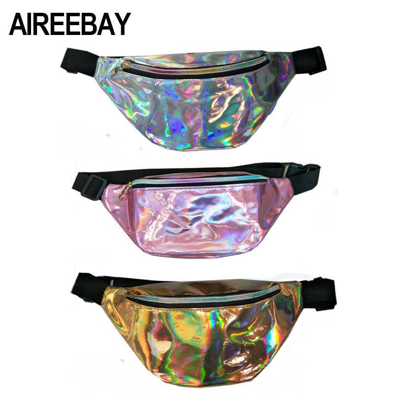 AIREEBAY 2018 New Holographic Fanny Pack Women Laser Bum Bag Travel Beach Shiny  Female Waist Bags 1d18b8ac8553