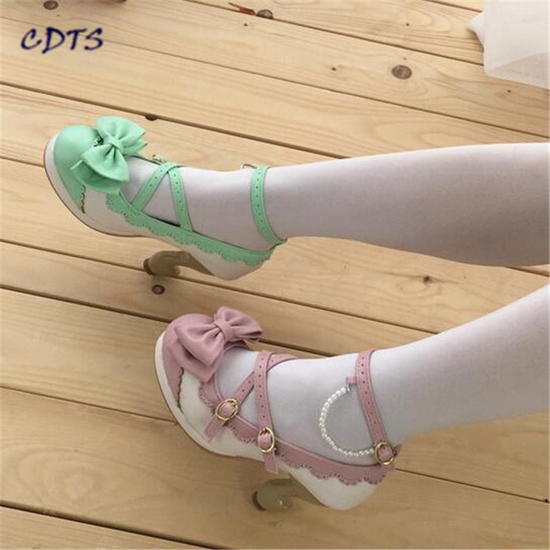 CDTS zapatos mujer Spring Sweet Lolita princess Buckle shoes ultra high heels leuconostoc women decoration bow cosplay pumps eur 34 44 angelic imprint zapatos mujer lolita cosplay punk pumps high boots princess sweet girl s pumps black women s shoes