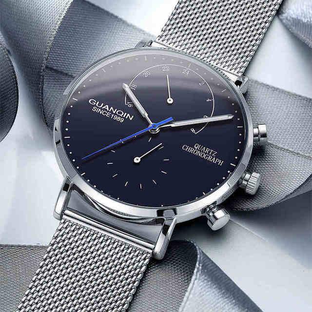 0cc9894e0b9 GUANQIN 2018 Moda Casual Relógios Top Marca de Luxo relogio masculino  Homens Relógio De Quartzo Ultrafino