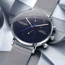 レロジオmasculino guanqin 2018 高級ファッションカジュアル腕時計トップブランド超薄型クォーツ時計男性腕時計ストップウォッチhd発光