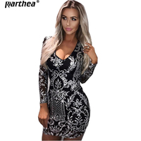 Parthea Christmas Fashion Long Sleeve V Neck Sexy Sequin Dress Black Silver Autumn Party Dress Winter