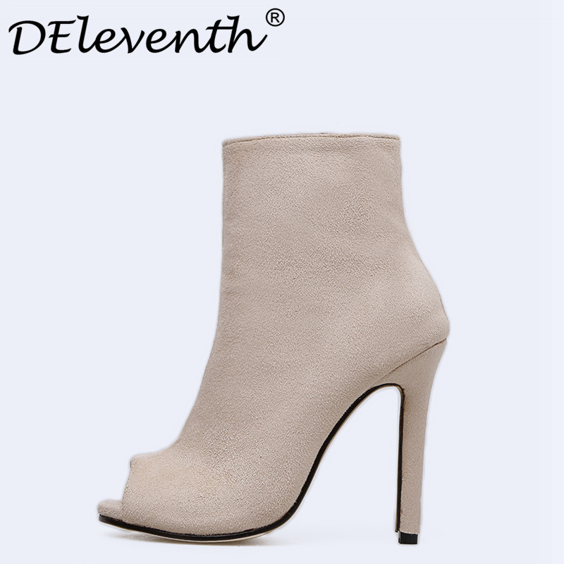 New Women Ankle Boots High Heels Peep Toe Spring Boots With Zipper Black Apricot Shoes Woman High Heels Sexy Women Ladies Boots solid black spring autumn casual women shoes rivets peep toe side zipper thin super high heels women sandal boots free shipping