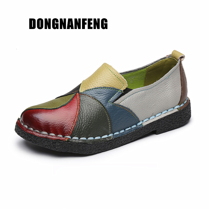 Dongnanfeng Ladies Girls Feminine Sneakers Flats Mom Sneakers Cow Real Leather-based Loafers Colourful Non Slip On Designer 35-42 Ol-2098