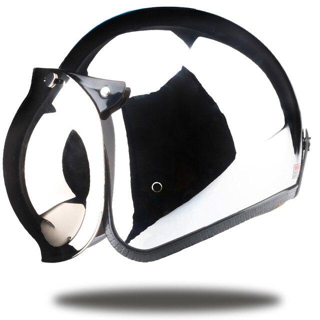 Marken vintage moto rcycle helm jet capacetes de moto ciclista harley sliver chrome vespa cascos para moto cafe racer spiegel