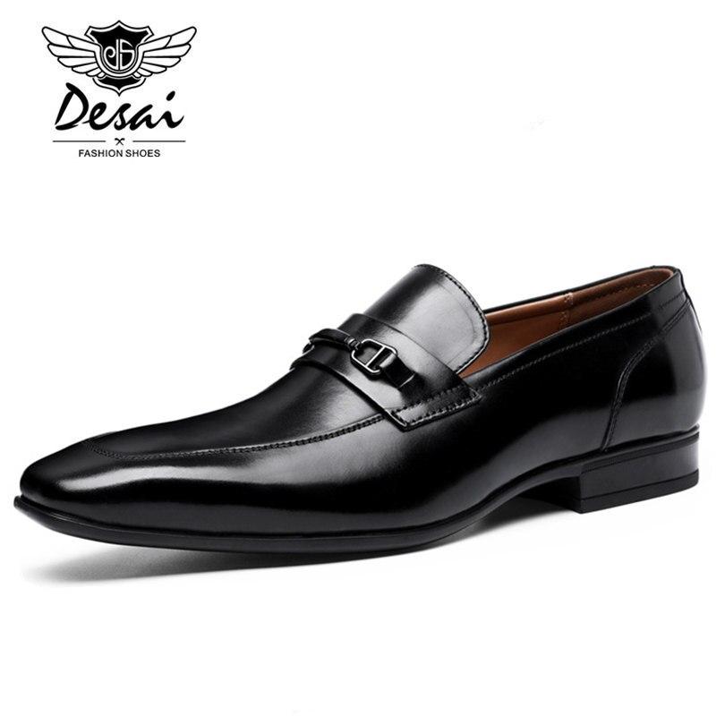 DESAI Merk Top Kwaliteit Mannen Wees Teen Schoenen Echt Leer Luxe Mannen Kleding Schoenen Slip Op Bruiloft Schoenen-in Formele Schoenen van Schoenen op  Groep 3