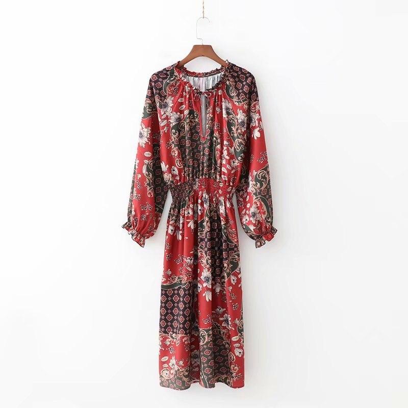 QZ167 Women Vintage Patchwork Floral Print Slim Waist long sleeve Dress Ladies Retro O Neck Dresses Vestidos