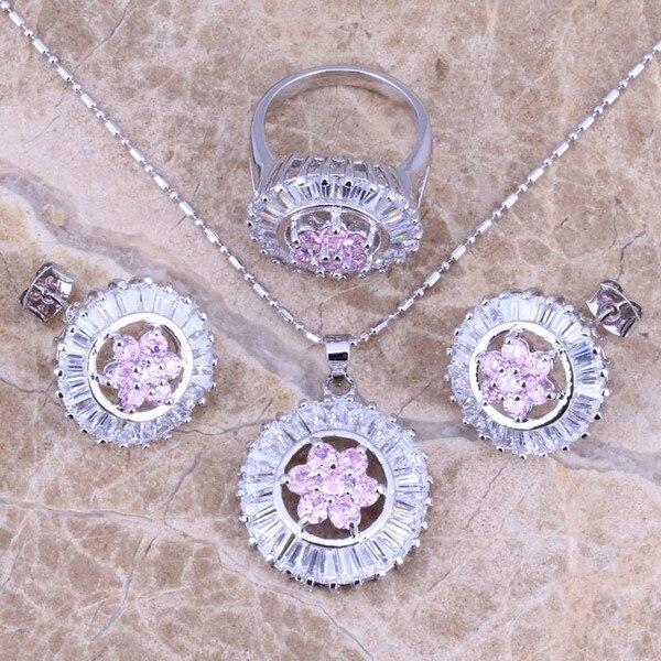 d32d9e2169f9 Superb Rosa Blanco CZ plata Juegos de joyería Pendientes anillo pendiente  tamaño 6-9 s0132