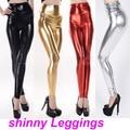 Mulheres Sexy cintura alta leggings Sliming de Metal Cor Sólida Skinny Calças Das Senhoras Brilhando Pu Calças elásticas Frete grátis