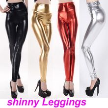 Fashion bling metal tight-fitting elastic japanned leather pants faux ankle length legging trousers female