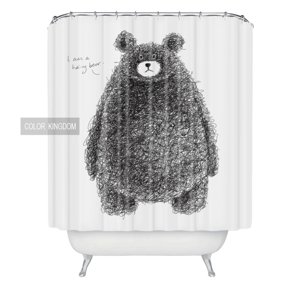 With creative shower curtains white and black creative shower curtain - Wholesale Creative Soft Bath Curtain Black Bear Pattern Waterproof Curtain European And American Style Shower Curtain
