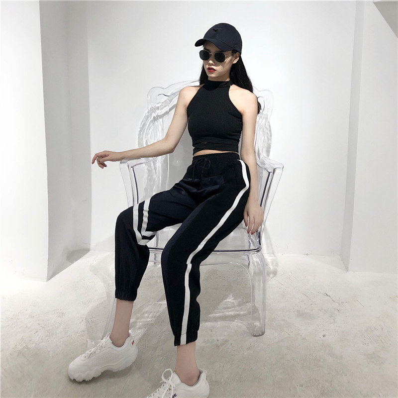 Women's Sets summer new black fashion sexy wild hanging neck vest + high waist loose harem pants two sets of women 5