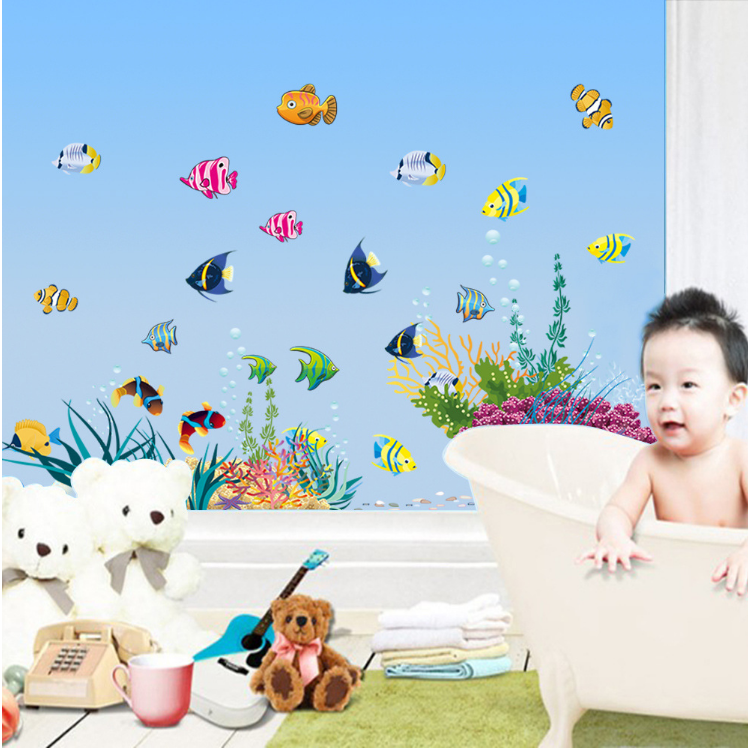 Hot Washroom Bathroom Door Window Decorative Wall Sticker Sea World Fish  Plant Kids Room Home Decal Nursery Kitchen DIY Art In Wall Stickers From  Home ... Part 52